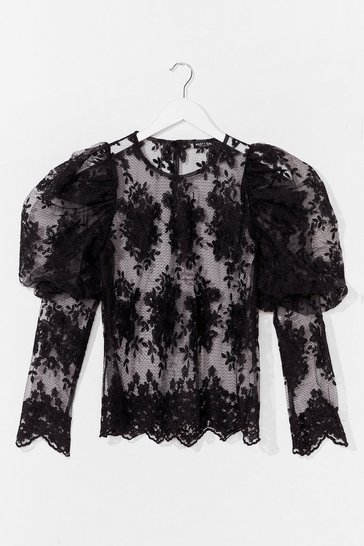 Black Lace Make a Start Puff Sleeve Blouse