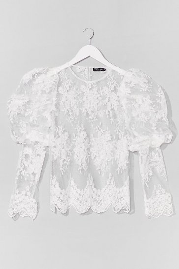 White Lace Make a Start Puff Sleeve Blouse