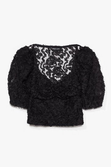 Black Textured From My Ex's Floral Cropped Blouse