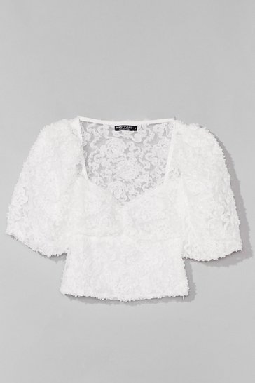 White Textured From My Ex's Floral Cropped Blouse