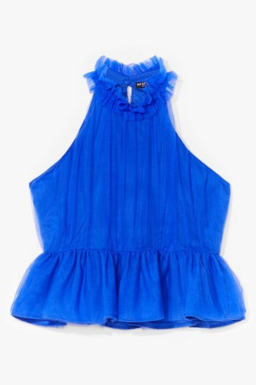 Blue Halter of Fame Organza Ruffle Top