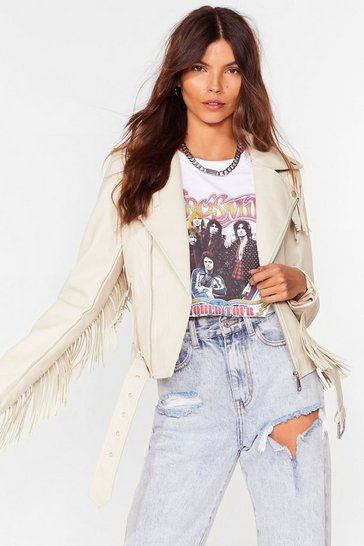 Cream Crazy Little Fringe Faux Leather Jacket