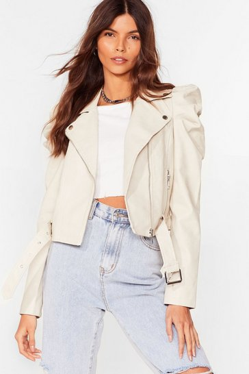 Cream Faux Leather Puff Sleeve Jacket