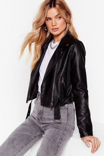 Black Snake It Work Faux Leather Moto Jacket