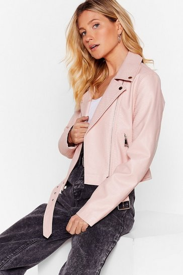 Pink Snake It Work Faux Leather Moto Jacket