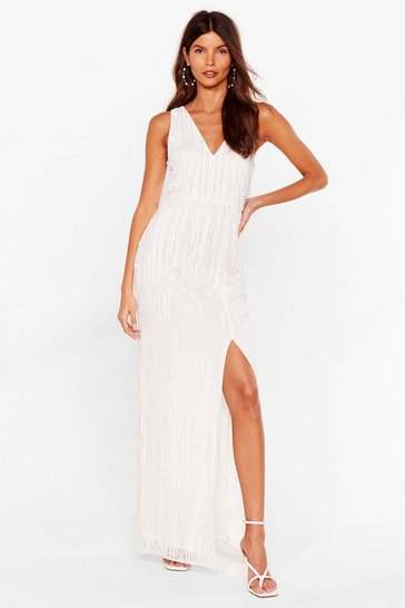 Ivory Tonight's the Night Embellished Maxi Dress