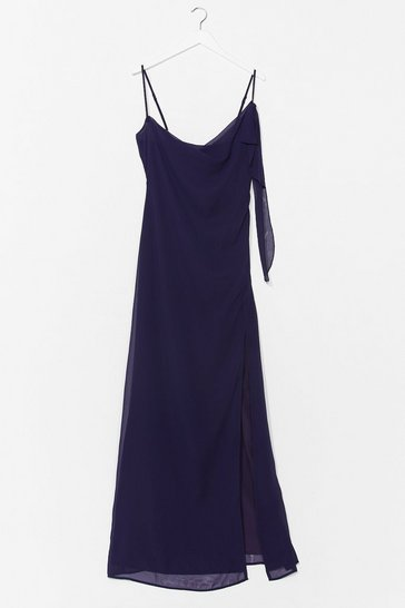 Navy Right Bride Your Side Cowl Maxi Dress