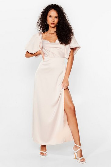 Oyster Satin Puff Sleeve Maxi Dress