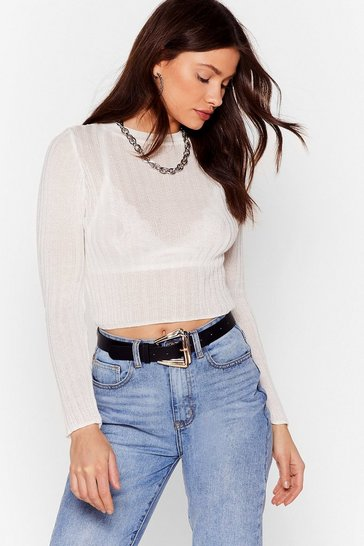 Cream Sheer Comes Our Girl Cropped Ribbed Top