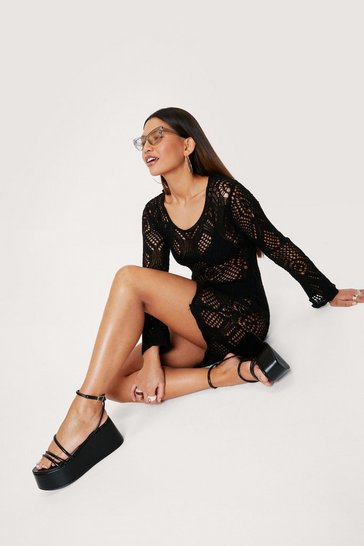 Black Recycled Crochet Long Sleeve Mini Dress
