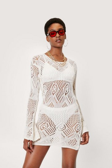 Ecru Recycled Crochet Scoop Back Mini Dress
