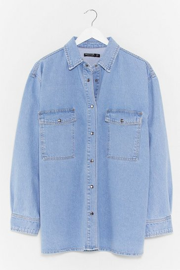 Light blue Wash and Learn Oversized Denim Shirt