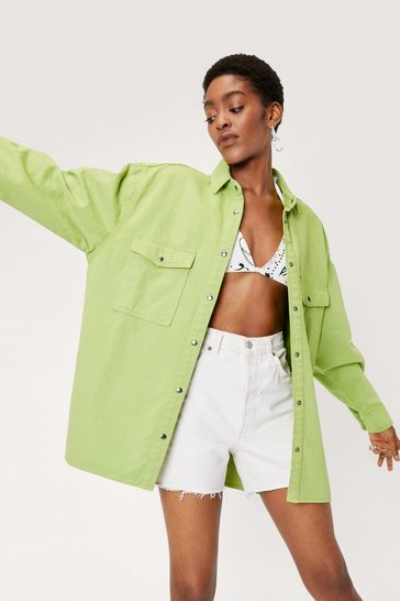 Lime Slouchy Oversized Button Down Denim Shirt