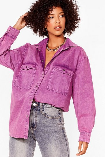 Raspberry Wash and Learn Oversized Denim Shirt