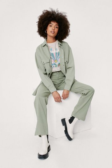 Sage Slouchy Oversized Button Down Denim Shirt