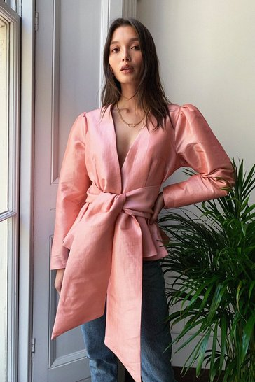 Pink Taffeta Bow Belted Power Shoulder Blouse