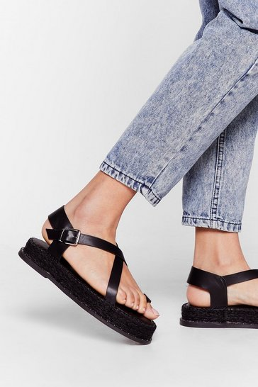 Black We've Woven You Faux Leather Espadrille Sandals