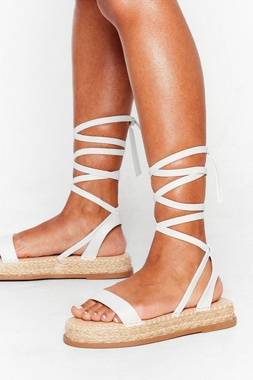 White Lace Call It Even Faux Leather Woven Sandals