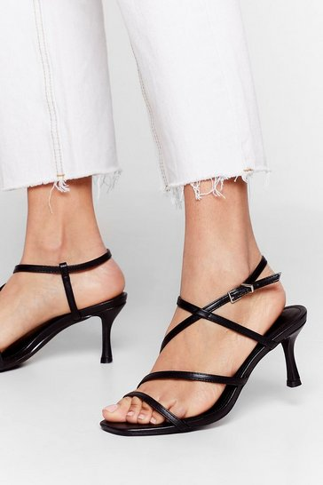 Black Get Strappy Faux Leather Heels