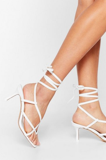 White So Thong It's Right Lace-Up Kitten Heels