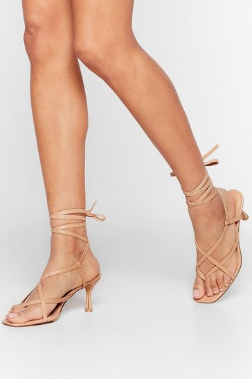 Nude The Lace is Ran Faux Leather Wrap Heels