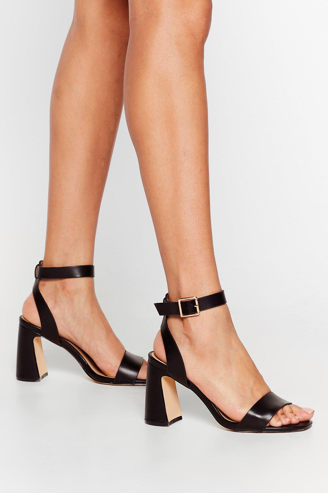 Flare to Be Different Faux Leather Heeled Sandals | Nasty Gal