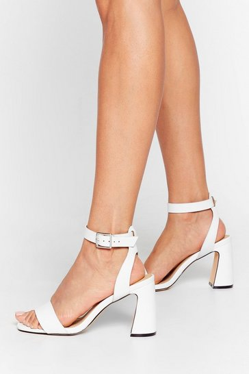 White Flare Are You Going Faux Leather Heeled Sandals