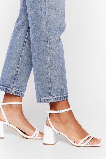 White Walk It Off Low Block Heel Sandals