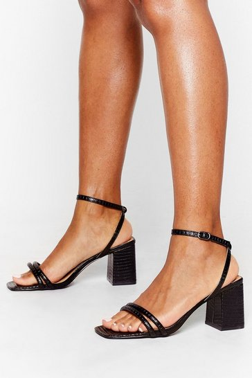 Black Walk It Off Low Block Heel Sandals