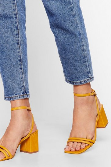 Mustard Alcohol Faux Suede Me Do It Strappy Block Heels