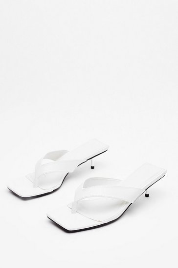 White Are You Busy Faux Leather Toe Post Mules