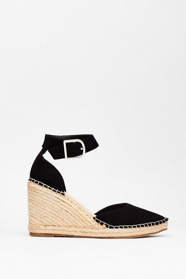 Black Faux Suede Pointed Espadrille Wedge