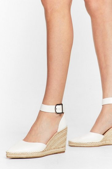 White Faux Leather Pointed Espadrille Wedges