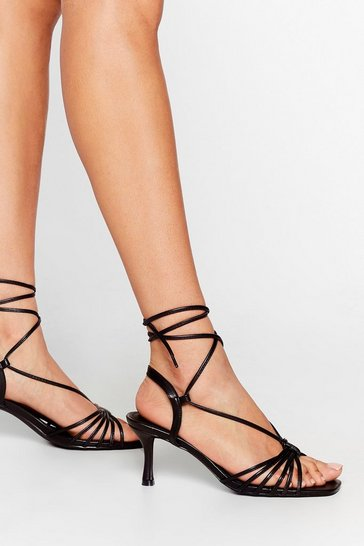 Black Tie These On Strappy Kitten Heels