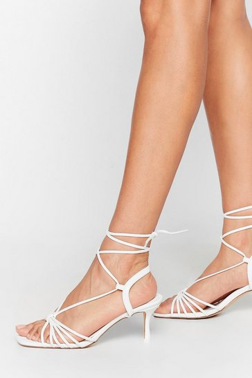 White Strappy to Be Here Kitten Heel Sandals