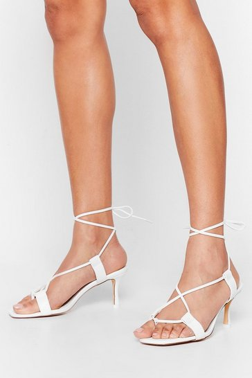 White The Lace is On Kitten Heel Sandals