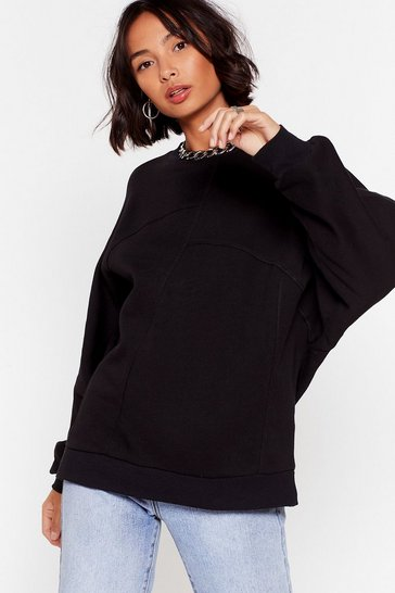 Black Hang in There Oversized Batwing Sweater