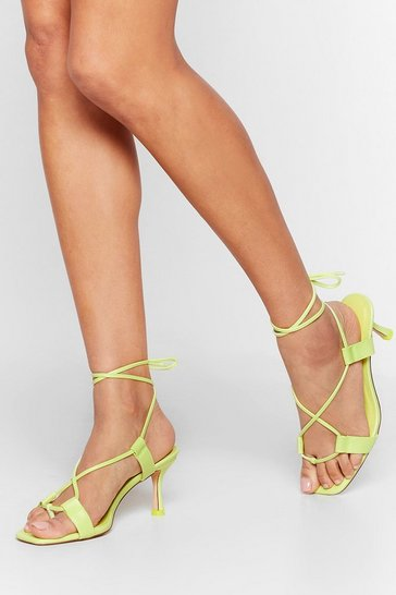 Lime The Lace is On Kitten Heel Sandals