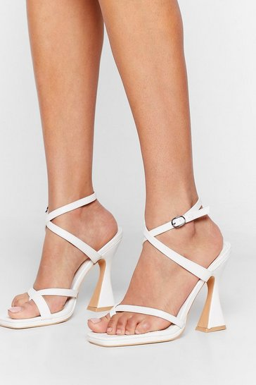 White Stand Tall Faux Leather Strappy Heels