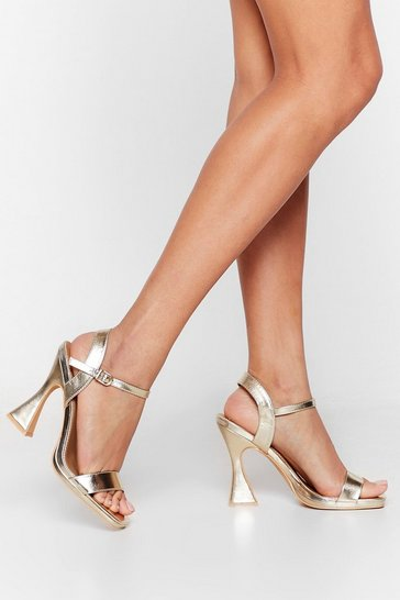 Gold Make 'Em Flare Metallic Faux Leather Heels