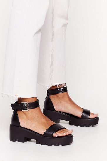 Black Work Those Ankles Faux Leather Heeled Sandals