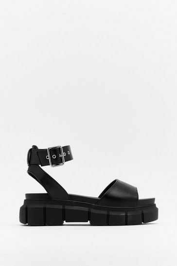 Black Faux Leather Platform Open Toe Sandals