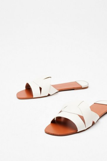 White Break the Mules Croc Flat Sandals