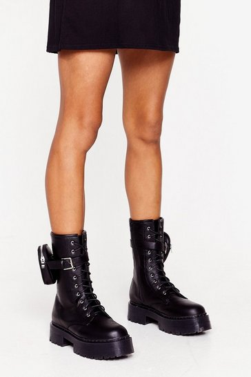 Black Pocket Pouch Faux Leather Biker Boots