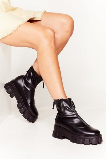 Black Take a Cleat Faux Leather Chunky Boots