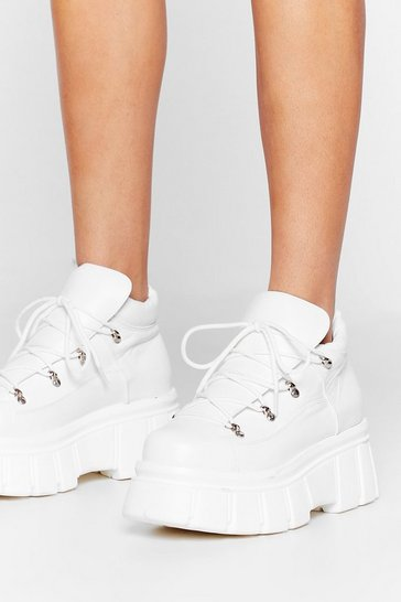 White Hike It Like That Cleated Platform Sneakers