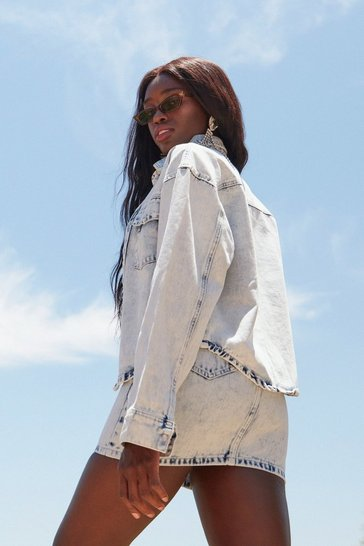 Light blue Acid Wash Relaxed Denim Jacket