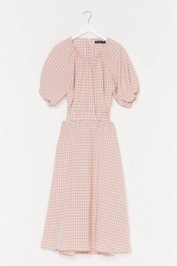 Stone Out in the Open Gingham Midi Dress