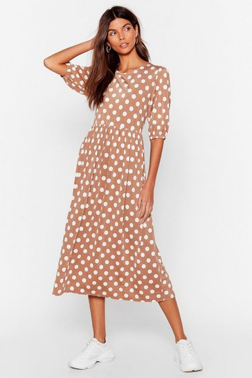 Camel Too Dot Puff Sleeve Midi Dress