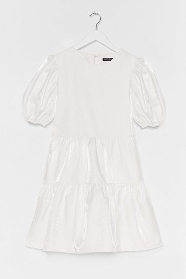 White Always Tier Puff Sleeve Mini Dress